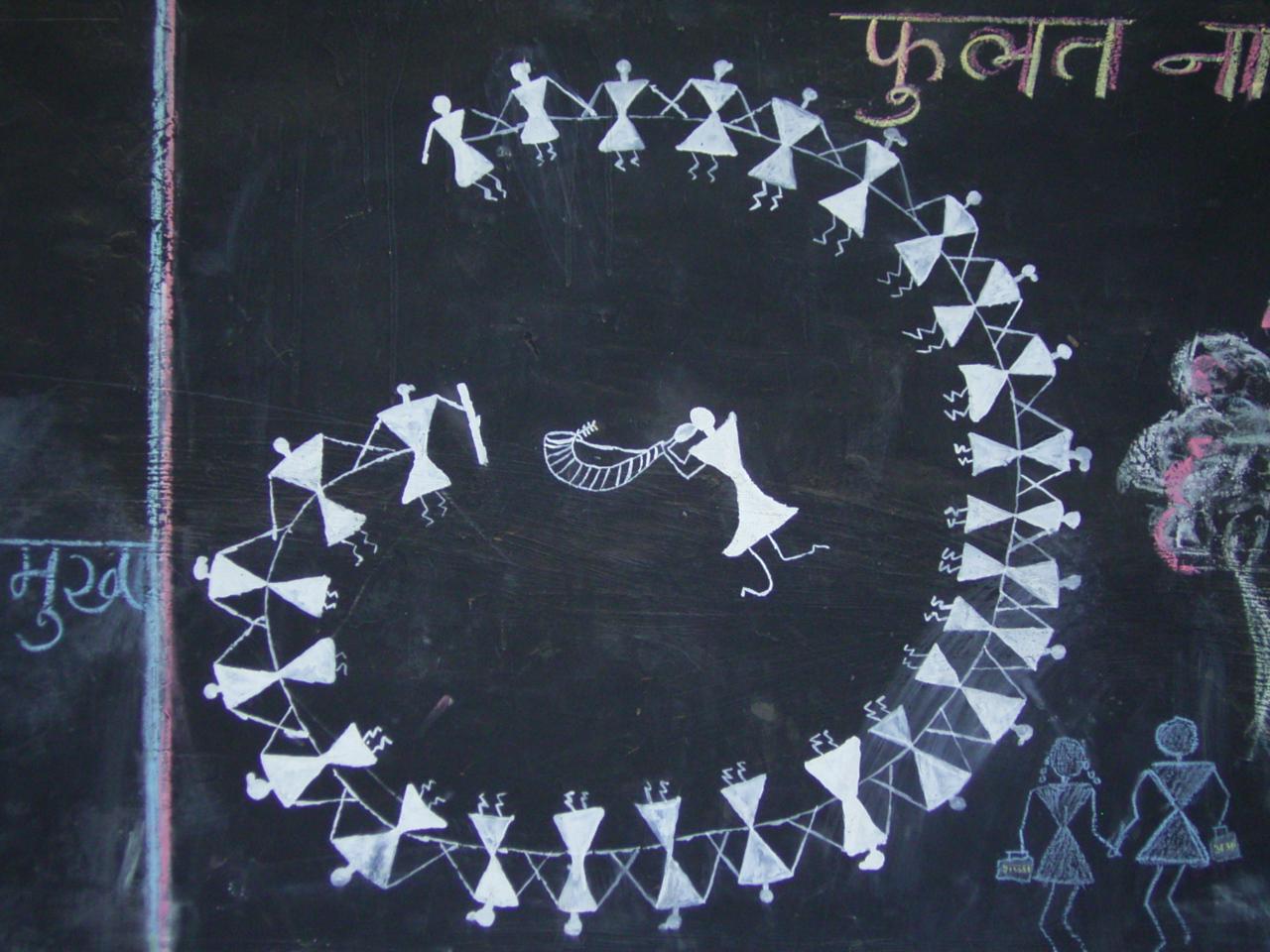 Zeichnung der Warli, Kinder lernen die alte Malerei